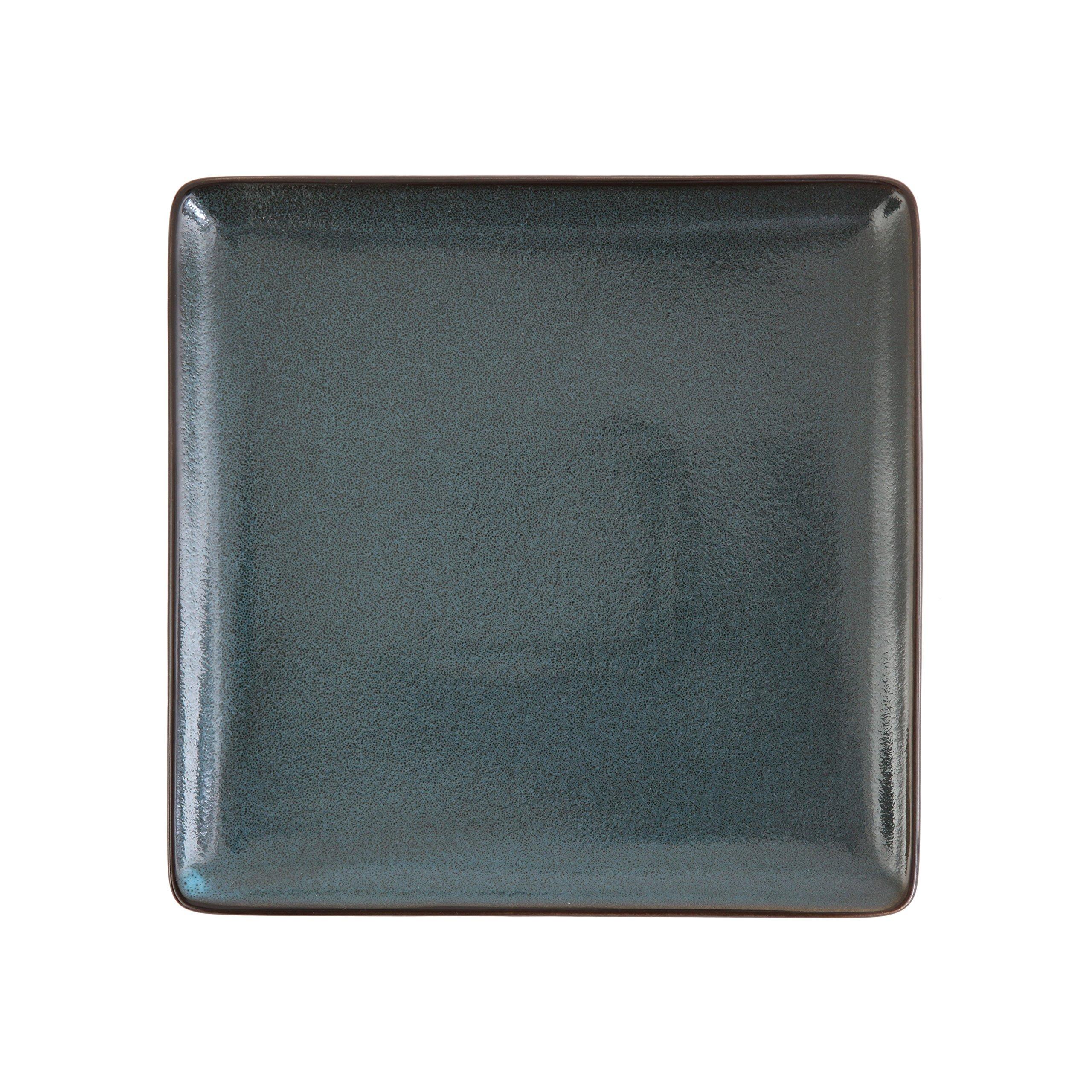 D&V 6 Piece Stōn Porcelain Dinnerware Square Dinner Plate Set, 9'', Twilight