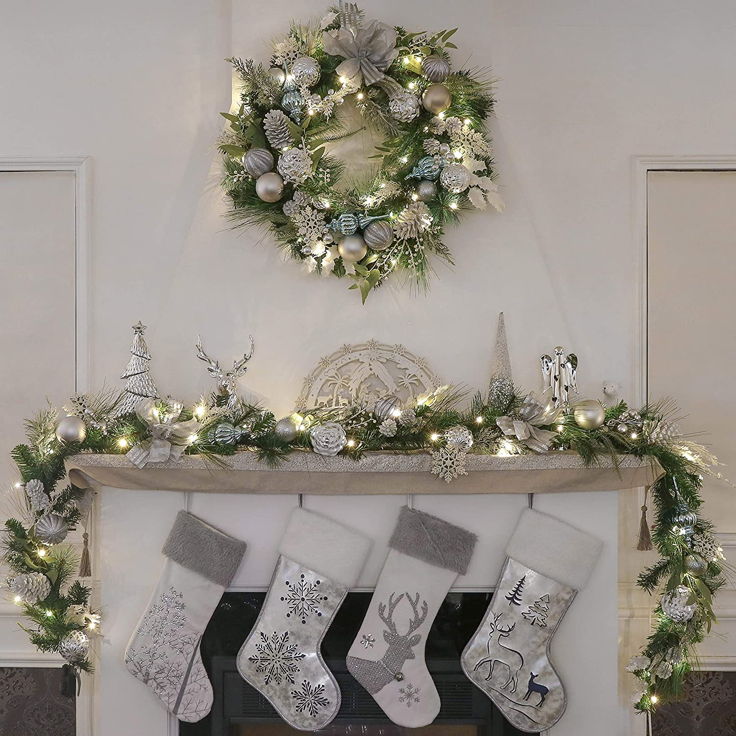 Valery Madelyn Pre-Lit 30 inch Frozen Winter Silver White Christmas Wreaths for Front Door with Lights Ball Ornaments Snowflake Battery Operated 40 LED Lights Wreath for Outdoor Home Window Fireplace