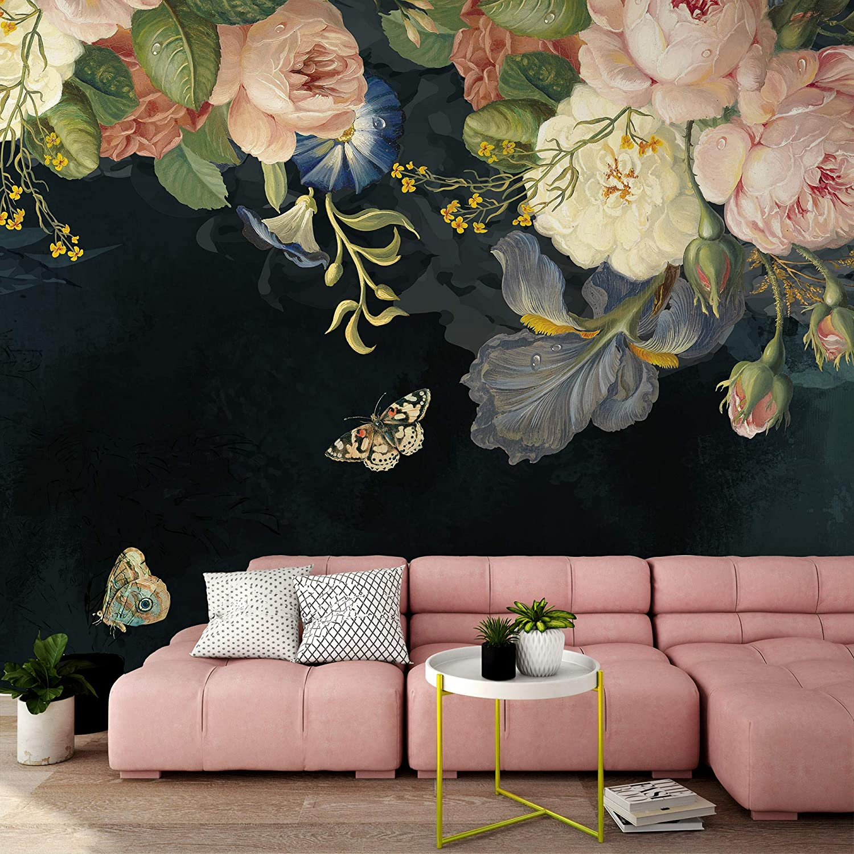 Amazon Com Murwall Oil Painting Dark Floral Wallpaper Pink Peony