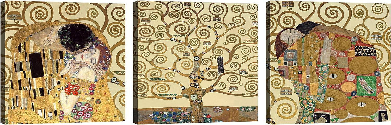 luxhomedecor Cuadros Gustav Klimt 3Piezas 30x 30cm Impresión Sobre Lienzo con Bastidor de Madera Muebles Arte Muebles Moderno