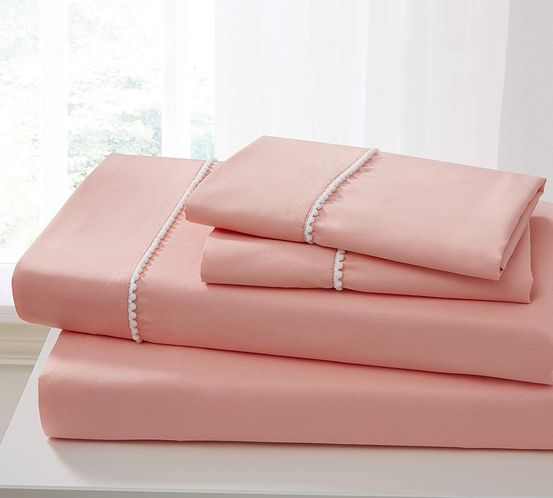 Spirit Linen Home Bed Sheets Set 4PC Pom Pom Sweet Dream Ultra Soft Microfiber Sheet Set with Fitted Sheet Flat Sheet Pillowcases (Pink Desert Flower, Twin)