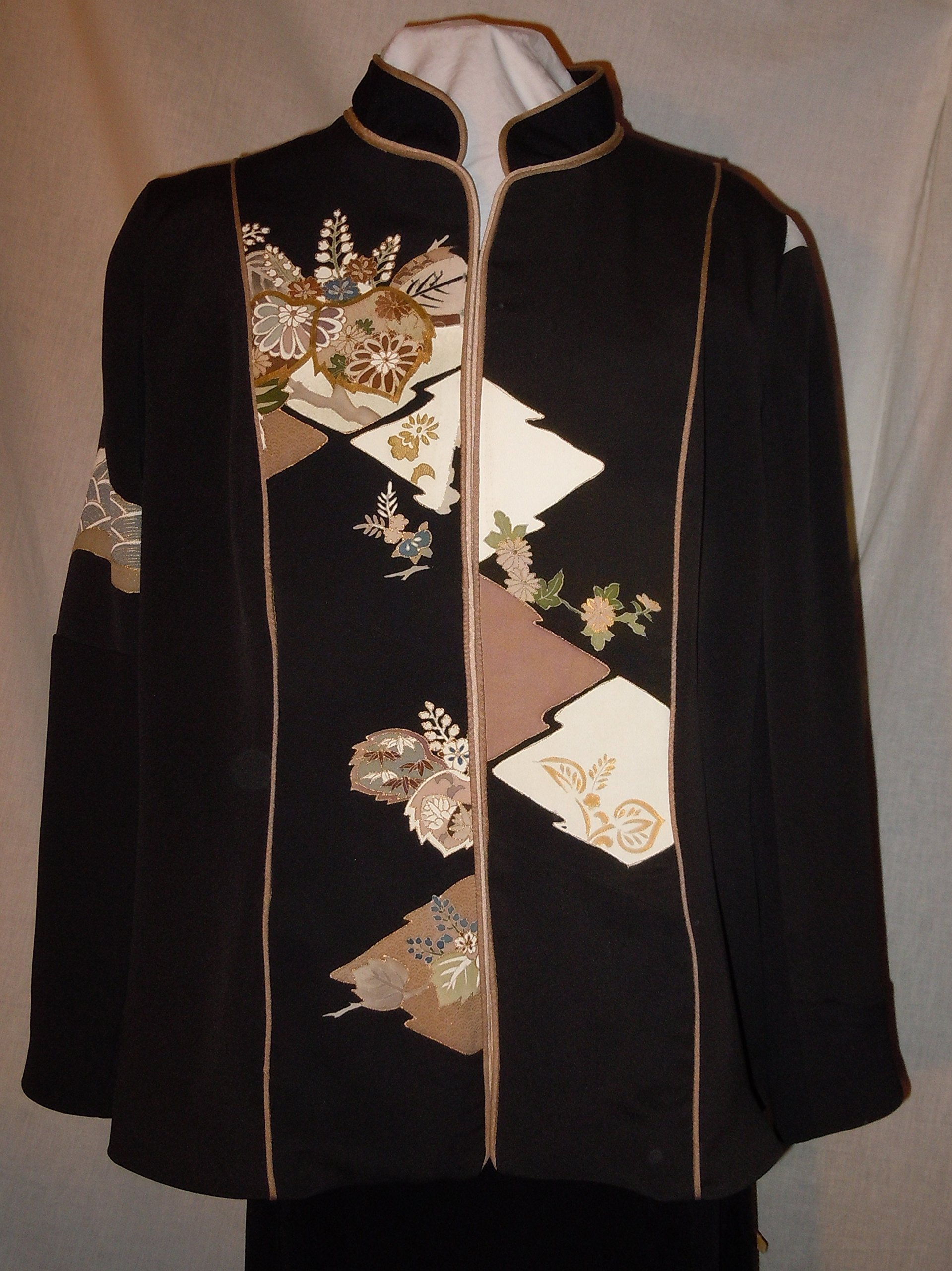 Black silk jacket from vintage kimono, with gold hand dyed motifs and embroidery, size large. One of a Kind #F20