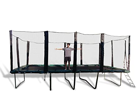 Happy Trampoline – Galactic Xtreme Gymnastic Rectangle Trampoline with Net Enclosure – High Performance Safety Features Commercial Grade, Life-time warranty, 550 lbs Jumping Capacity