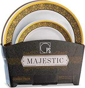 32 Piece White, Gold and Black Plastic Plates Set Elegant Disposable Plastic Dinnerware for 16 Guests Includes 16 Fancy Disposable Dinner Plates 16 Dessert Plates - Posh Setting