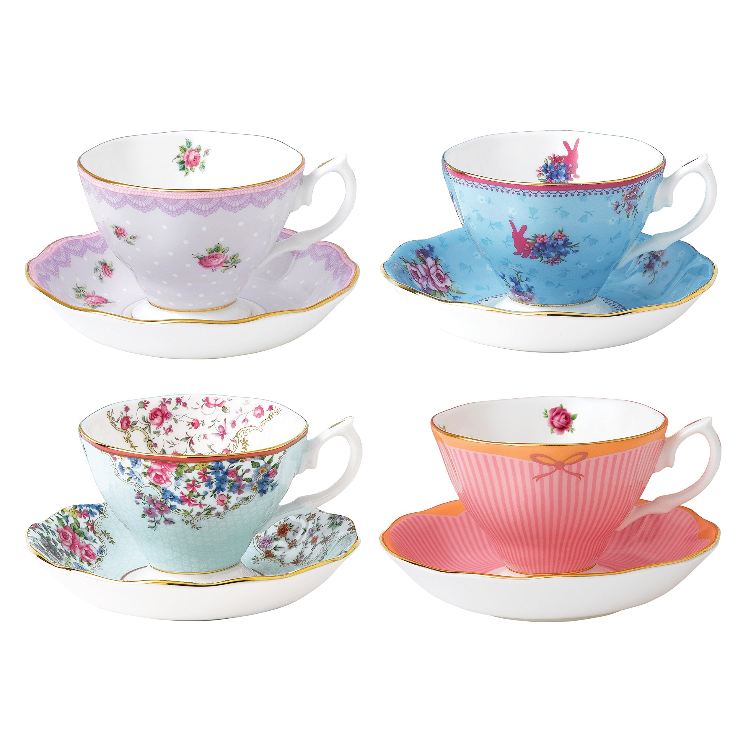 Royal Albert 40002539 Candy Teacup and Saucer Set Set of 4 Multicolor by Royal Albert (Image #1)