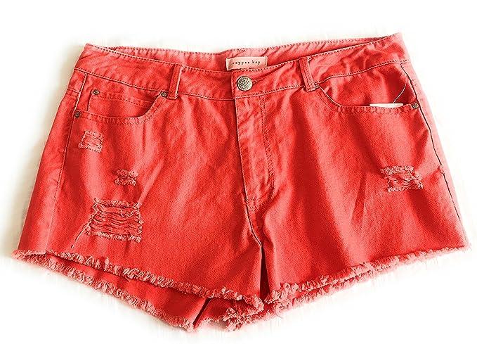 416f5e97af Copper Key Juniors Denims Cutout Shorts-Red-size 7 at Amazon Women's ...
