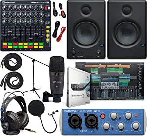"PreSonus AudioBox 96 Audio Interface Full Studio Kit w/Studio One Artist Software Pack w/Novation Launch Control XL Controller for Ableton Live, Eris 3.5 Pair Studio Monitors & 1/4"" Instrument Cable"