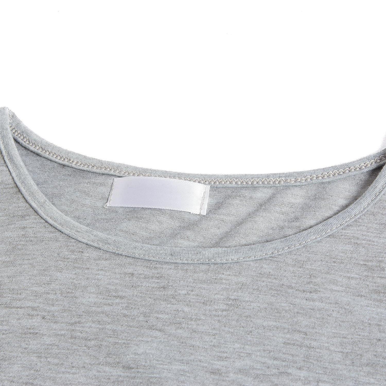 Beauty7 ES 42 Camisas Mujeres Manga Larga Cuello Redondo AsimšŠtrico Botones Vestido Verano Primavera Blusas T-Shirt Casual Tops Parte Superior Camisetas ...