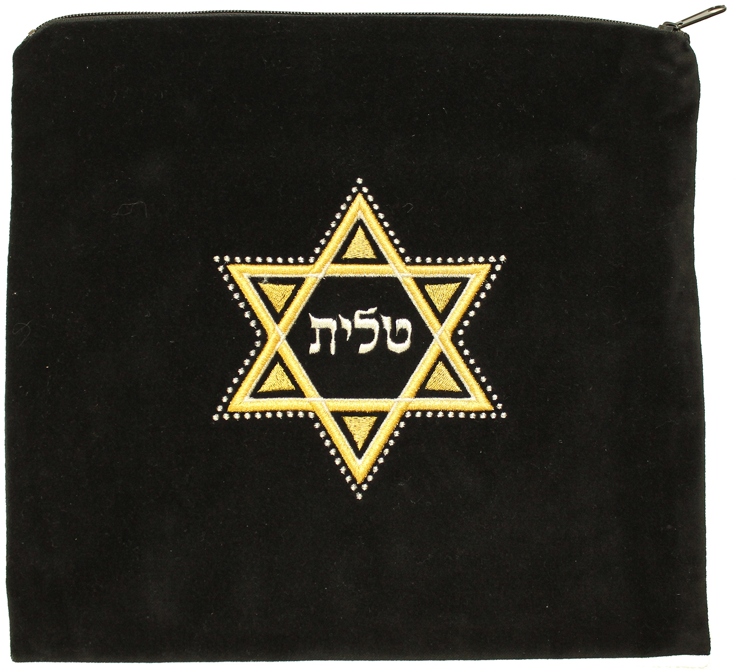 Majestic Giftware Gift Bag Tallis Velvet Embroidery Star of David Design, 12.5'' x 11.5'', Black/Gold/Silver by Majestic Giftware