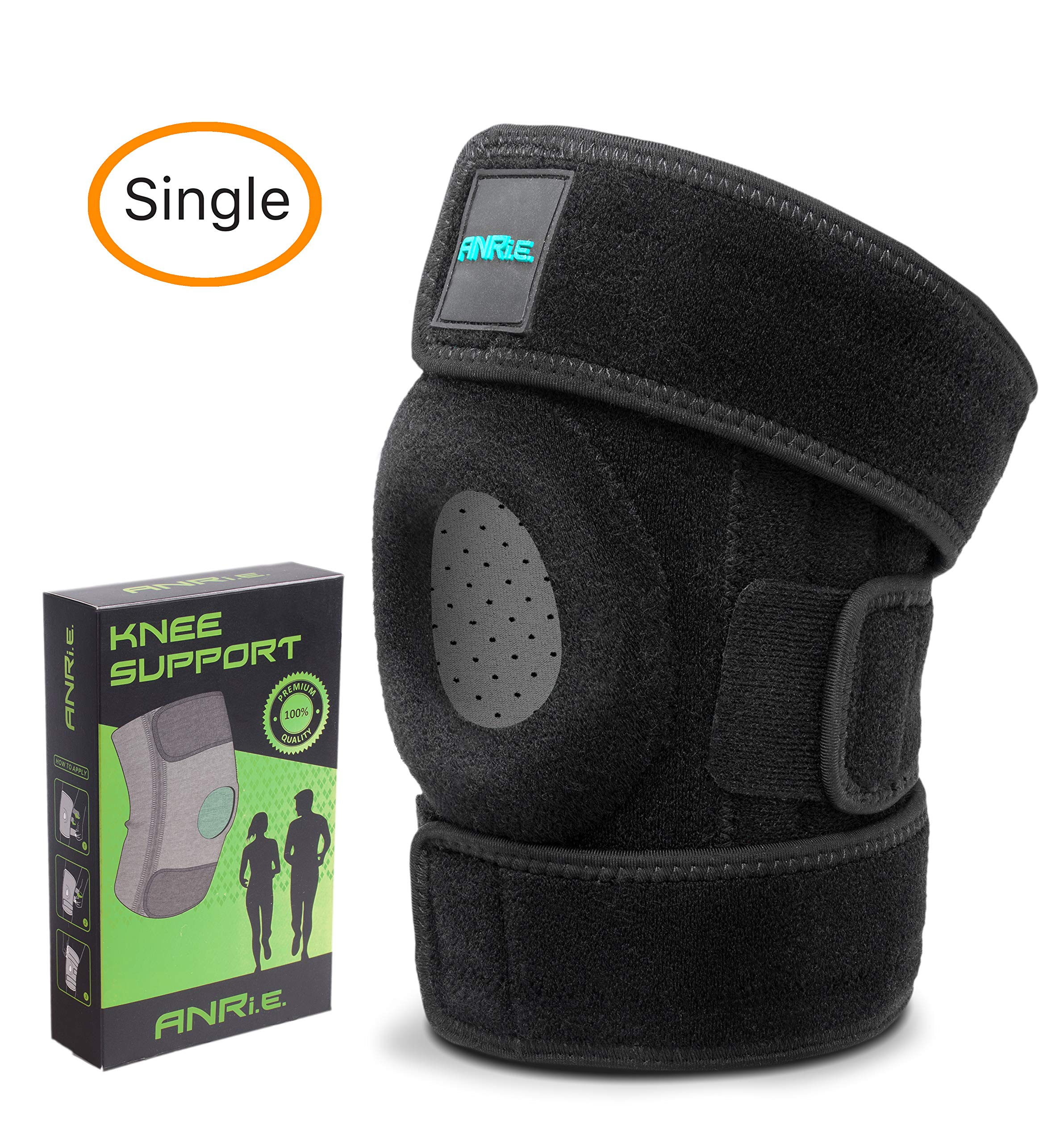 ANRI.E. Knee Brace Support for Meniscus Tear Arthritis ACL MCL LCL PCL Running Hiking Stabilizing - Best Adjustable Patella Stabilizer Knee Braces for Women Men (Black/Gray, One Size (12.3''-16.5''))