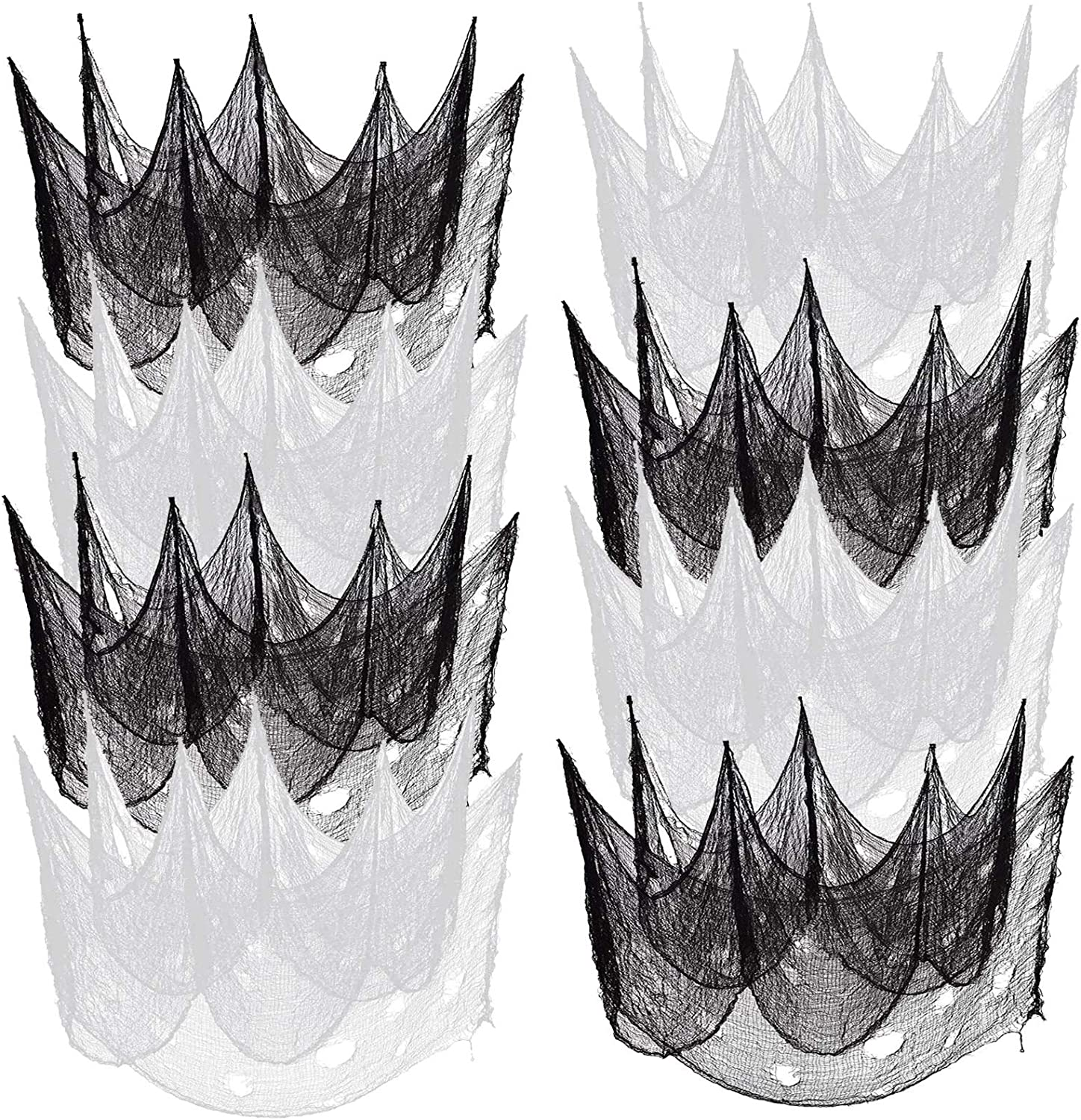 Marggle 8 Pack Halloween Creepy Cloth 30 x78 Inch, Scary Gauze Cloth Doorways Fabric Scary Spooky Halloween Decorations for Outdoor Yard Home Party Wall Decor (4 Black + 4 White)