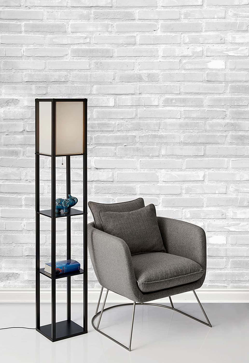 Adesso 3138-01 Wright 150-Watt 62.5-Inch Tall Floor Lamp with White ...