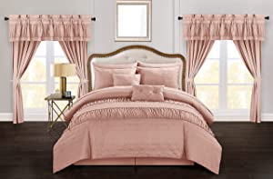 Chic Home Mykonos 20 Piece Comforter Set, King, Coral