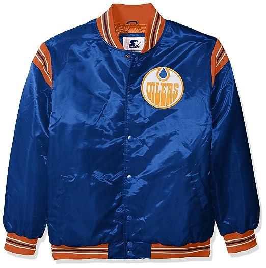 35cff02a7 STARTER NHL Edmonton Oilers Men's The Enforcer Retro Satin Jacket, Small,  Blue