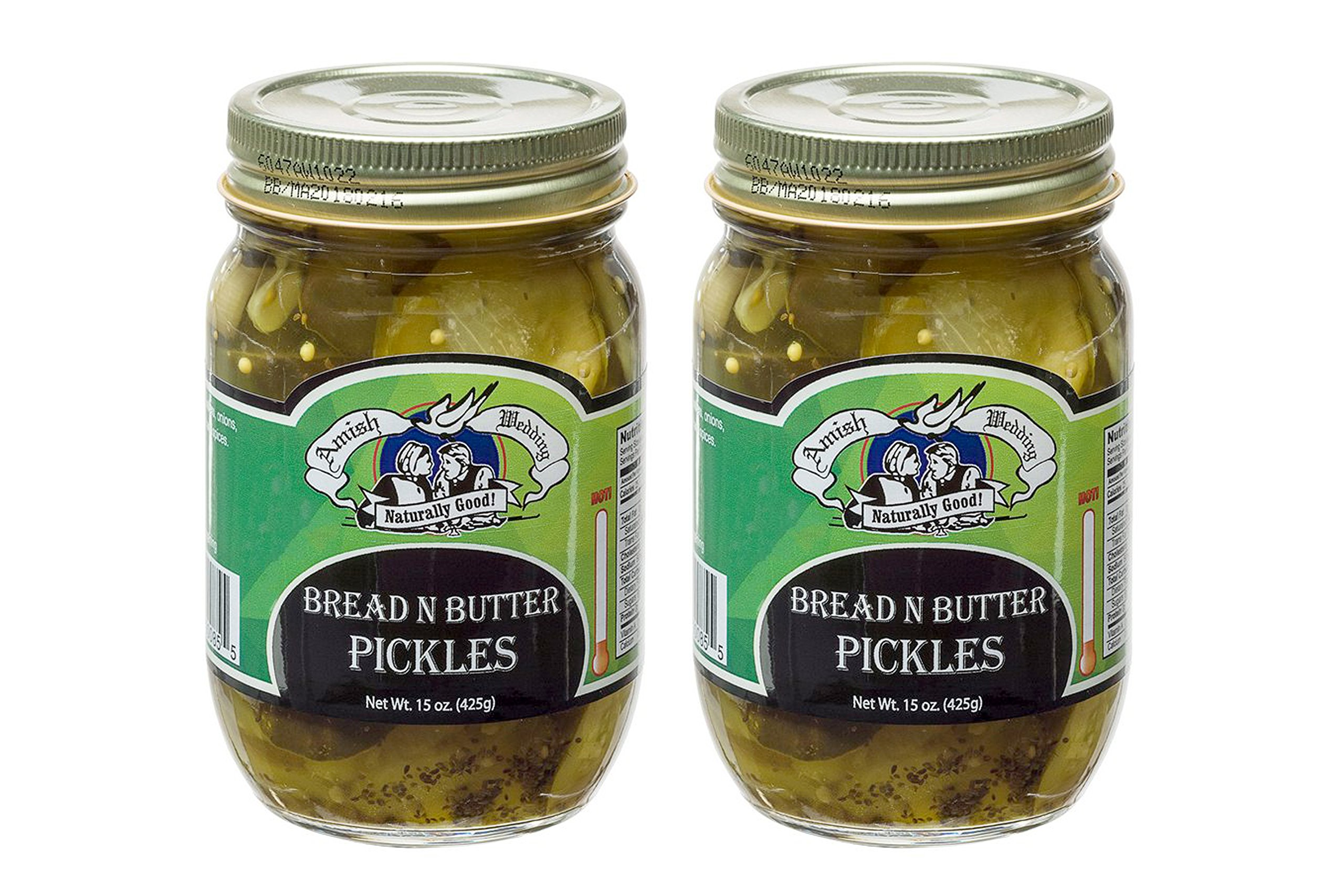 Amish Wedding Foods Bread N Butter Pickles 2 - 15 Oz Glass Quarts All Natural
