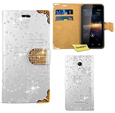 Vodafone Smart 4 Turbo Case, FoneExpert Bling Luxury Diamond Leather Wallet Book Bag Case Cover
