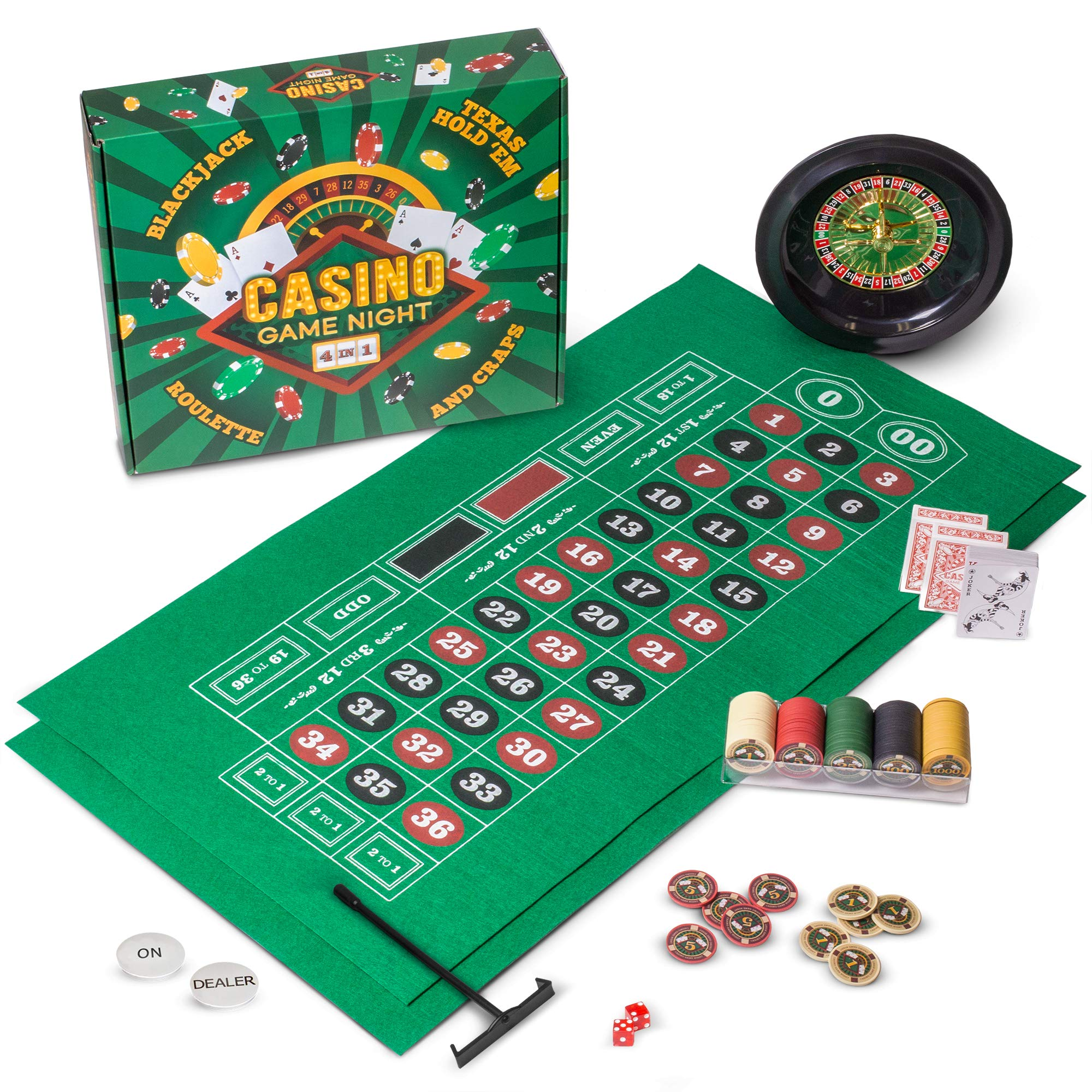 Casino Game Night | 4-in-1 Gambling Game Set | Texas Hold 'Em, Blackjack, Roulette, and Craps | Includes Roulette Wheel, 2 Double-sided Mini Felts, 100 Poker Chips, Craps Dice, Playing Cards, and More by Brybelly