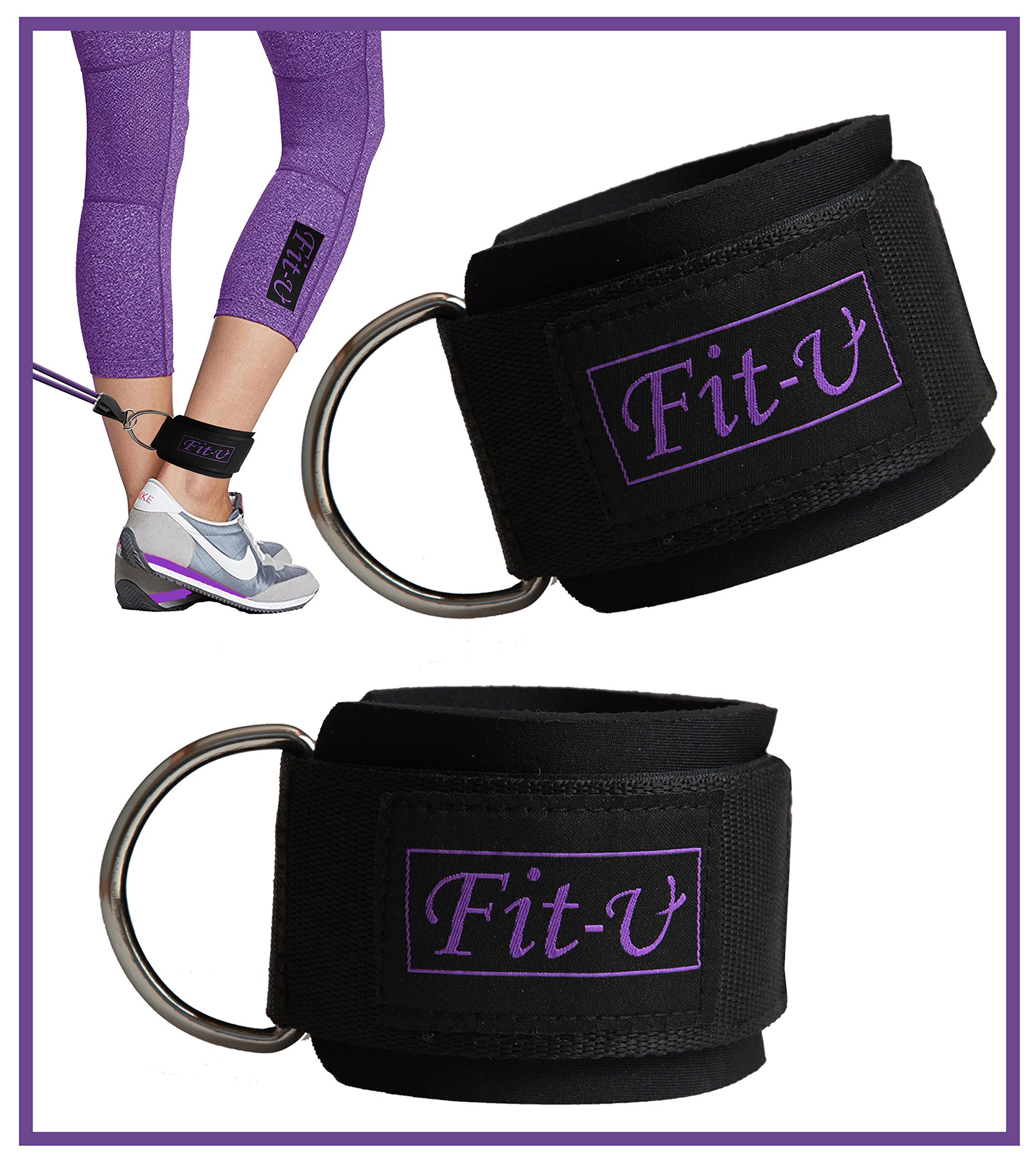 Padded Ankle Strap by FIT-U (2 – Pack) Perfect for Cable Machine Workout Fitness Cuffs for Ab, Glut & Leg Fit for Women & Men Weights ExercisesPlus a Beautiful Purple Bag