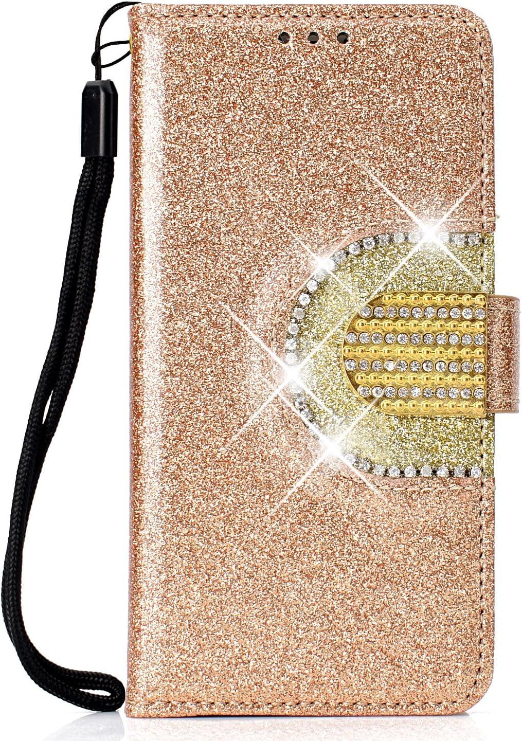 WIWJ Kompatibel mit Huawei Honor 10 Lite//Huawei P Smart 2019 H/ülle Glitzer Diamant Magnet Leder Handyh/ülle 360 Grad Wallet Schutzh/ülle Silikon Flip Klapph/ülle Tasche-Gold