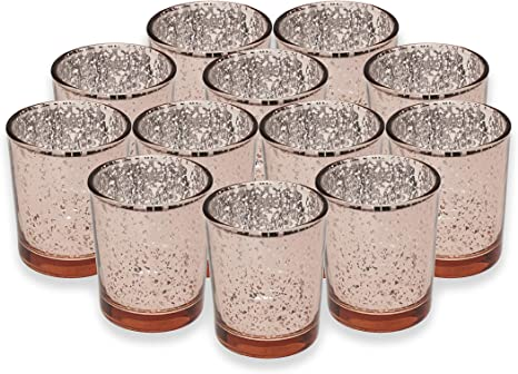 Wedding Decoration Set of 12 Mercury Glass Tealight Candle Holders Bulk with Speckled for Table Centerpiece SHMILMH Round Rose Gold Votive Candle Holders Party and Home D/écor