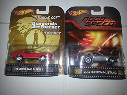 Amazon Com Hot Wheels Retro Mustang Set Of 2 James Bond 71 Mustang Mach I And Need For Speed 2014 Custom Mustang Toys Games