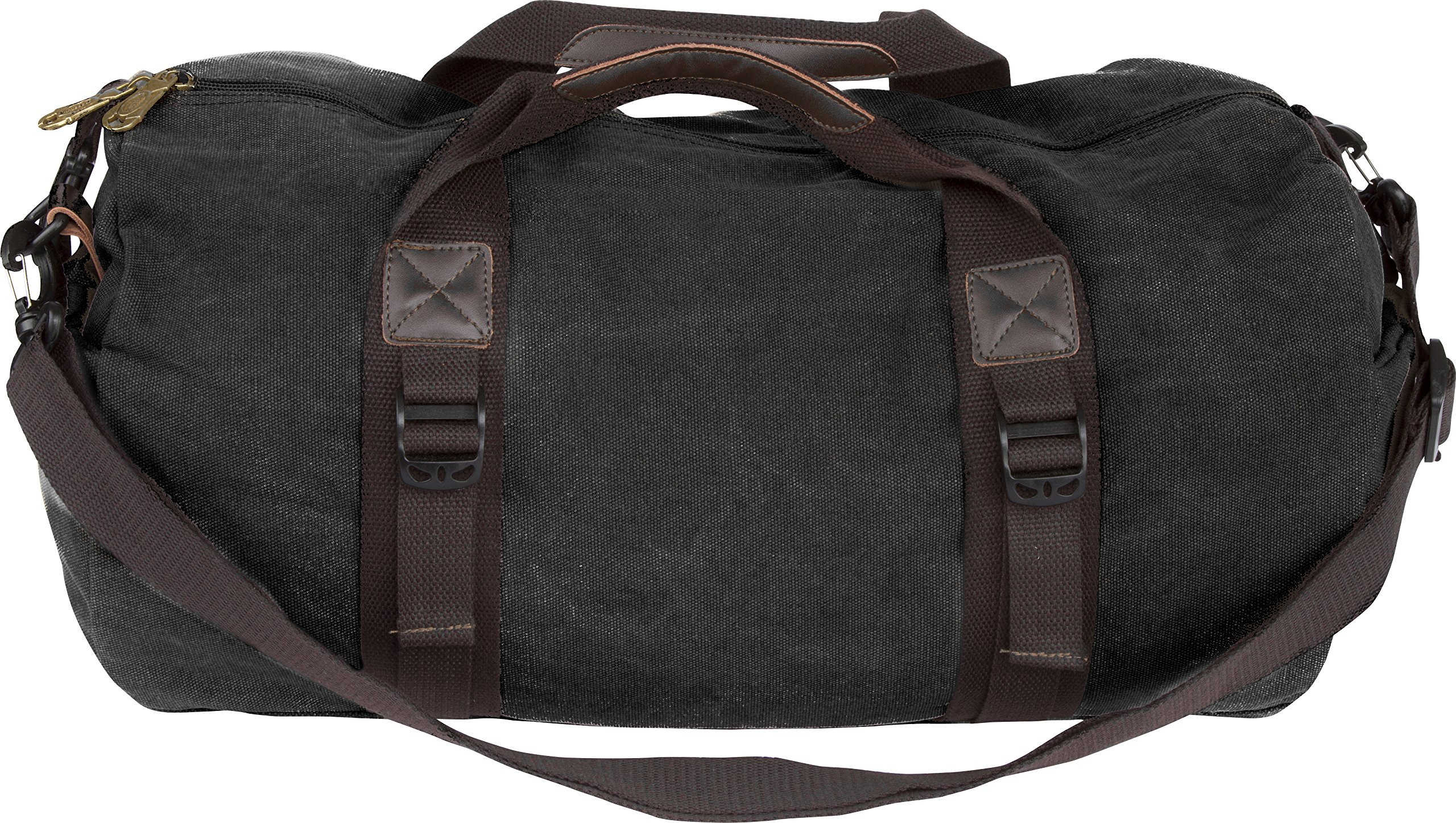 Unisex Canvas Travel Duffel Bag Overnight Weekend Bag (18'' Length, Style #1 Black)