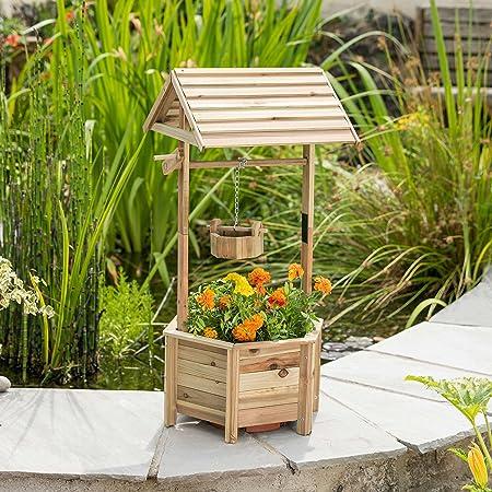 Christow Wooden Wishing Well Garden Planter Outdoor Patio Flower