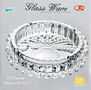 "Xtra Large Glass Ashtray 7.5"" Round Cut Fancy New Vintage Style (195mm)"