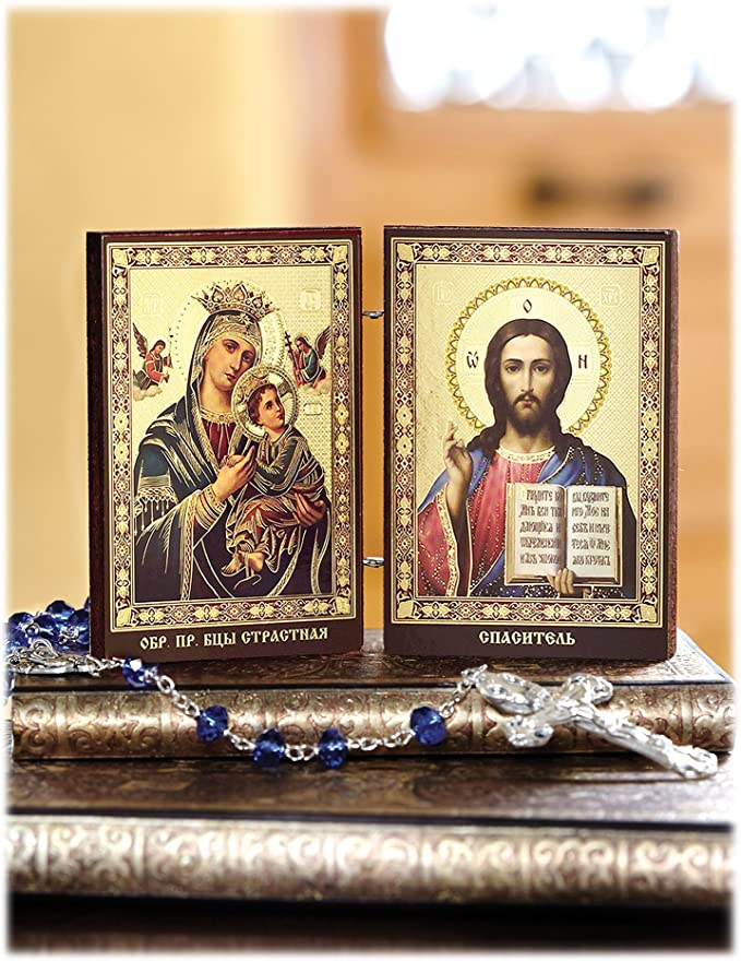 Gold Foil Christ The Teacher and Virgin of Kazan Russian Orthodox Icon Diptych 8 Inch Religious Gifts 116