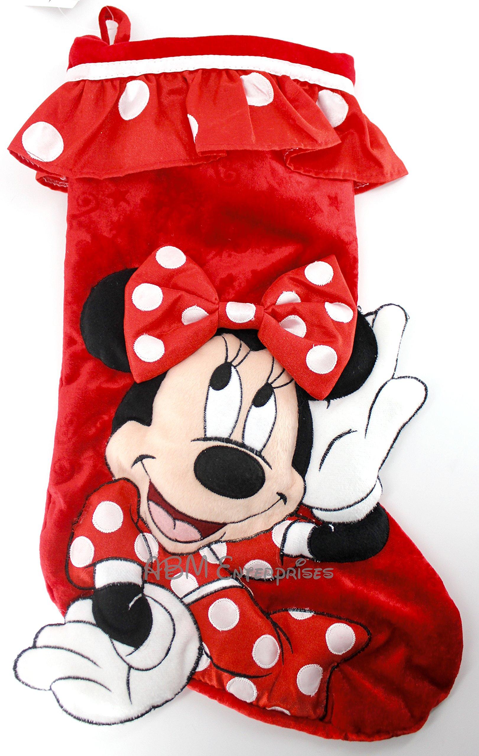 Disney Parks Minnie Mouse Plush Christmas Holiday Stocking NEW