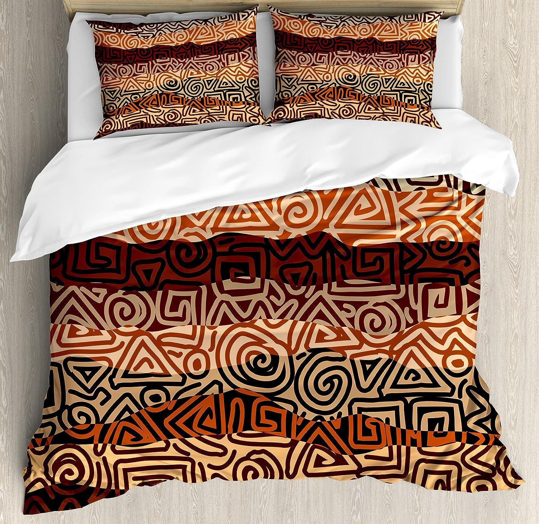 ヴィンテージ布団カバーセットby Ambesonne、エスニックStrikesパターンブラウンの色古代Curved Spiral Lines African Figures、装飾寝具セット枕のカバー、マルチカラー キング nev_36590_king B0743K36KB キング|マルチ1 マルチ1 キング