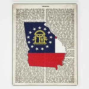Georgia Flag Canvas Wall Decor - 8x10 Decorative Georgia State Map Silhouette Encyclopedia Art Print - Ready To Hang - Home State Love Handmade Gifts - GA Decorations