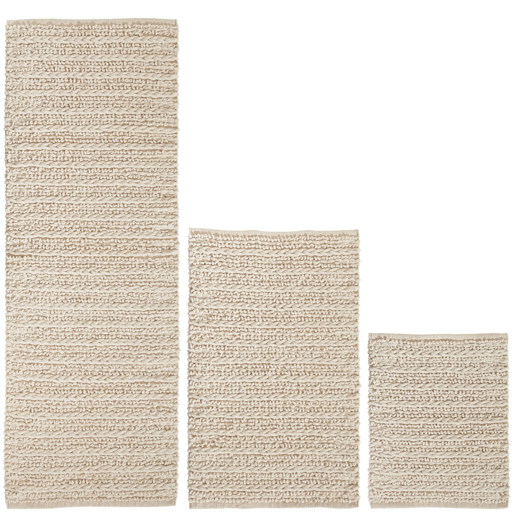 mDesign 100% Cotton Luxury Rectangular Spa Mat Rugs, Plush Water Absorbent, Braided Design- for Bathroom Vanity, Bathtub/Shower, Machine Washable - Runner, Standard & Small Rug - Pack of 3, Natural