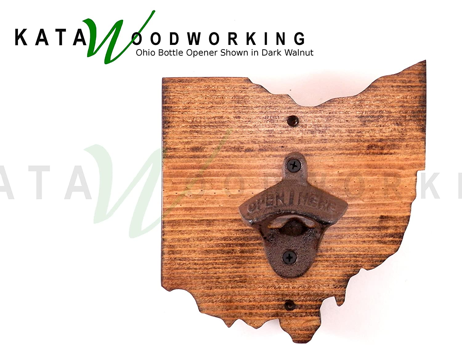 Amazon Com Ohio Shaped Wood Cut Out Bottle Opener Wall Mount