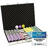 Nexos Pokerkoffer 1000 Chips Laser Pokerchips Poker Komplett Set Alu-Koffer, Chips mit Metallkern 12g inkl. Kunststoffkarten und weiterem Zubehör