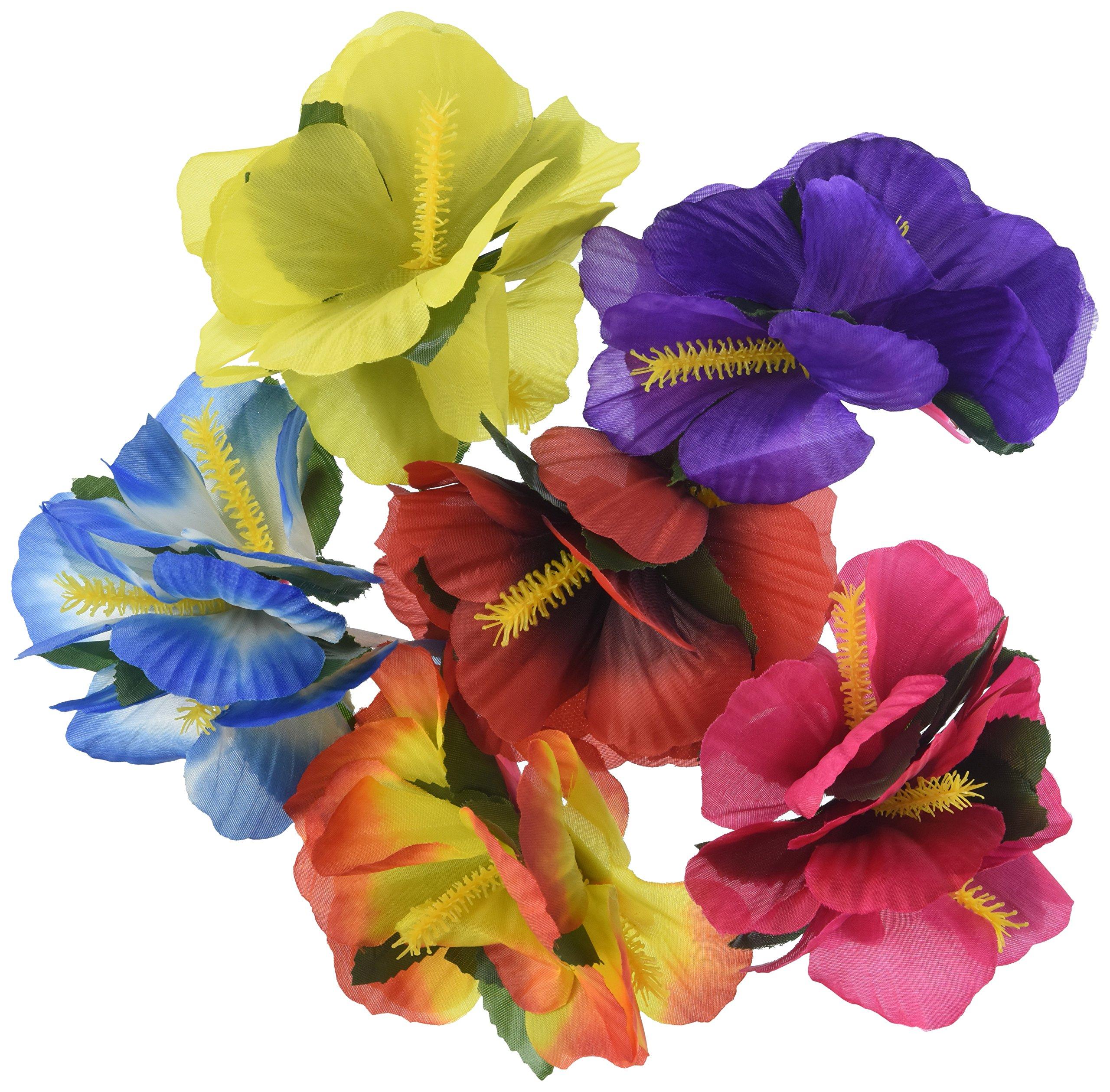 Amazon premium hawaiian luau party lei paradise petunia w hula girl hibiscus flower lei hair clips 12 izmirmasajfo