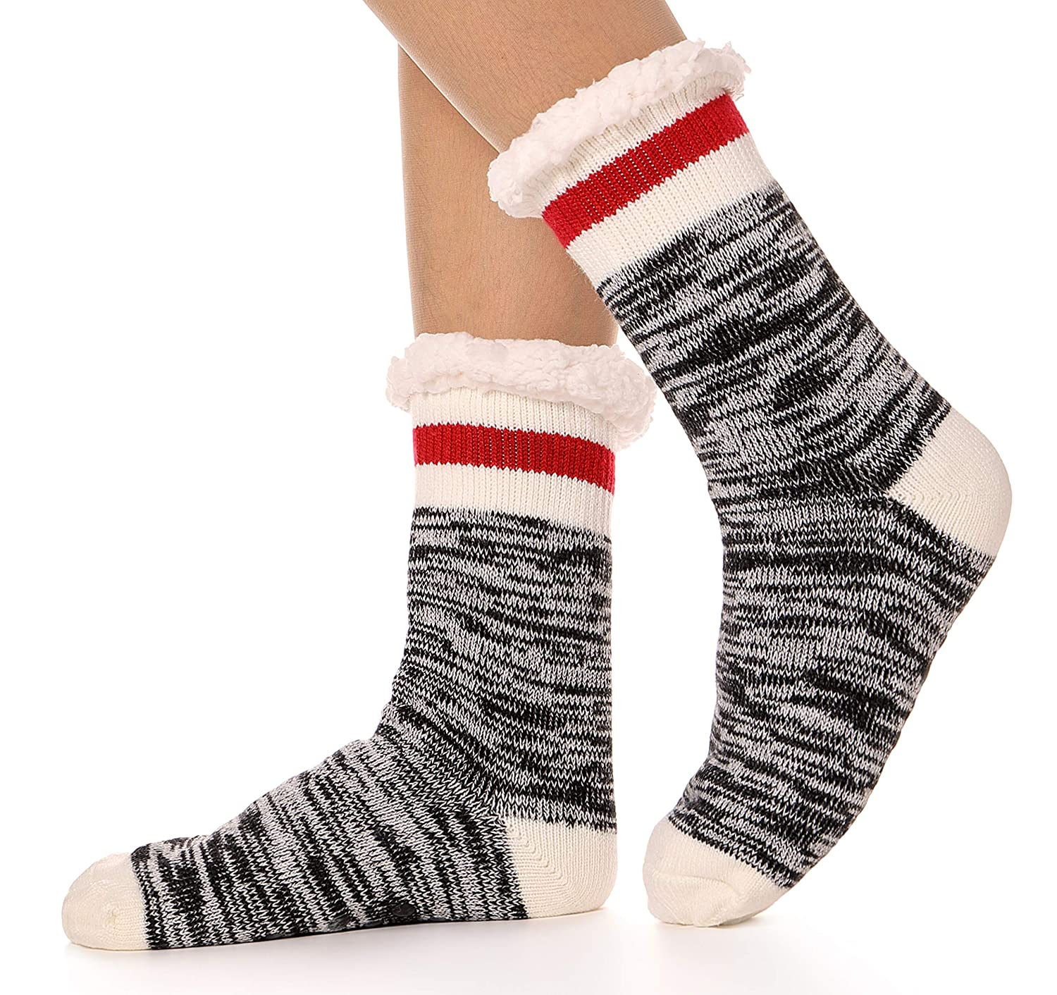 Womens Fuzzy Slipper Socks Warm Knit Thick Soft Heavy Fleece lined Christmas Stockings Winter Socks