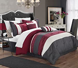 Chic Home Carlton 6-Piece Comforter Set, King Size, Burgundy