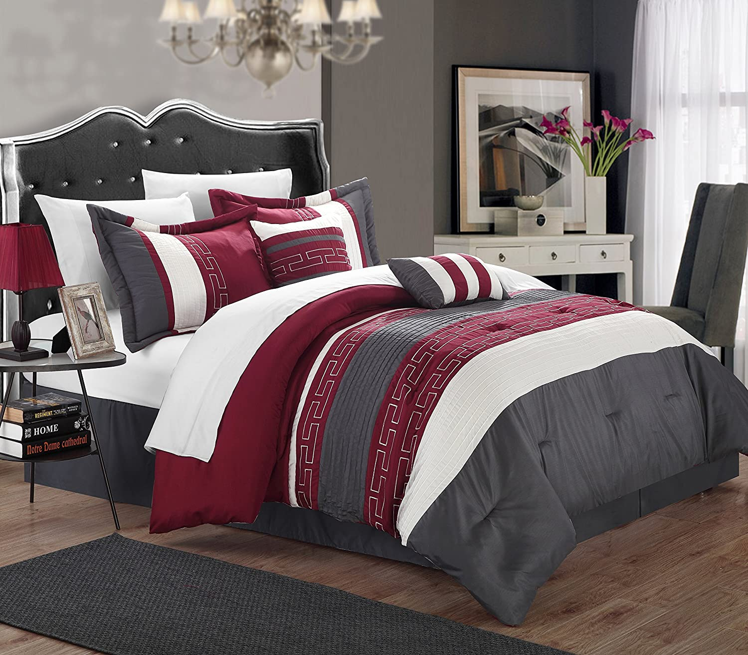 amazoncom chic home carlton 6piece comforter set queen size burgundy home u0026 kitchen