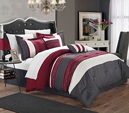 Chic Home Carlton 6 Piece Comforter Set, Queen Size, Burgundy