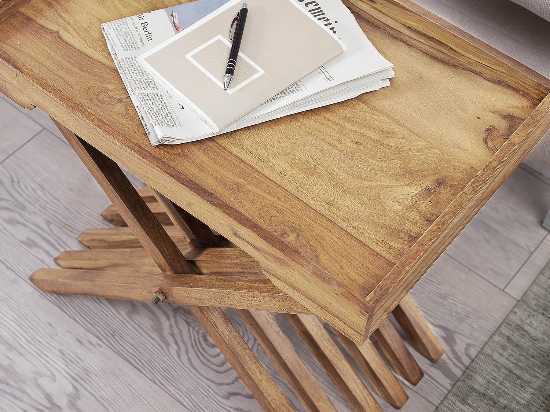 Finebuy Beistelltisch Massivholz Sheesham Design Klapptisch Klappbar