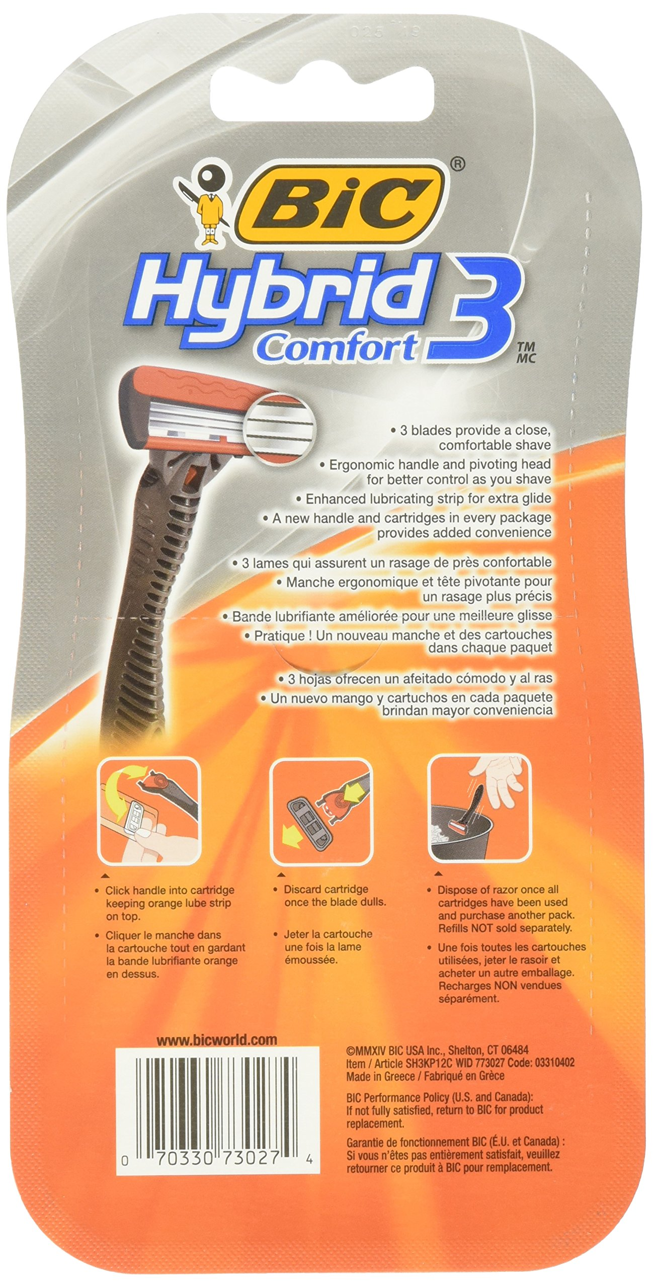 BIC Hybrid 3 Comfort Disposable Razor, Men, 12-Count by BIC (Image #2)