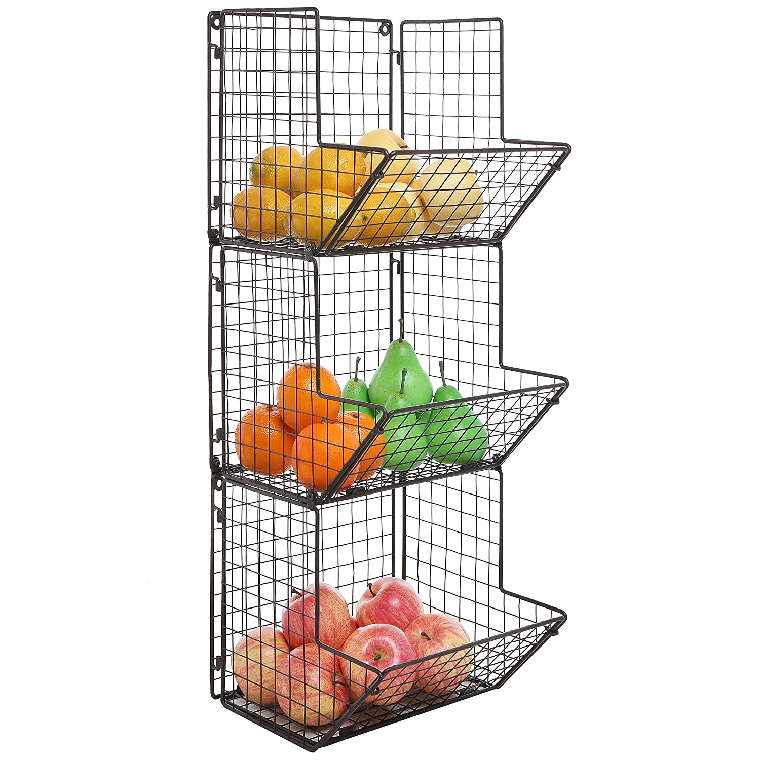 Amazon.com: Rustic Brown Metal Wire 3 Tier Wall Mounted Kitchen Fruit  Produce Bin Rack / Bathroom Towel Baskets: Health U0026 Personal Care