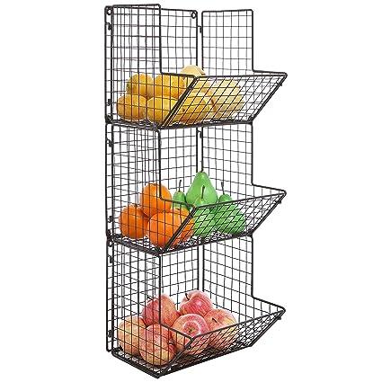 MyGift rústico marrón alambre de metal 3 baldas para cocina rack/toalla de baño,