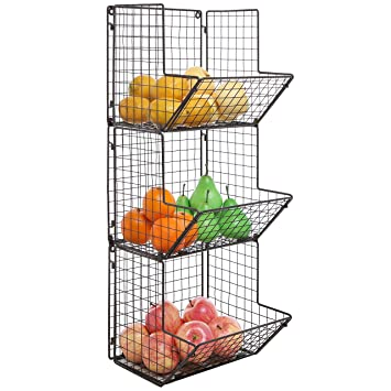 Amazon.com: Rustic Brown Metal Wire 3 Tier Wall Mounted Kitchen ...