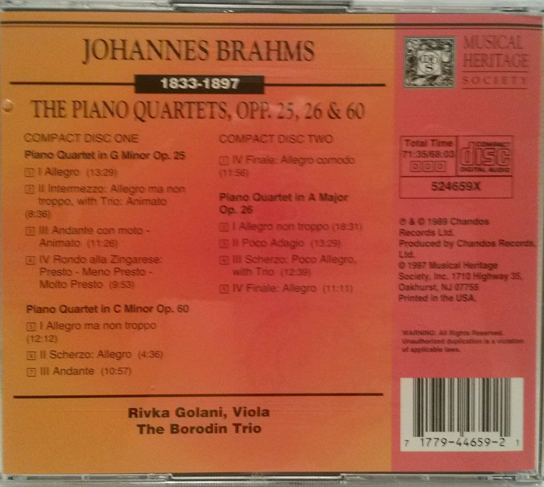 The Borodin Trio, Rivka Golani - Brahms Piano Quartets Op.25 Op. 26, Op. 60 - Amazon.com Music