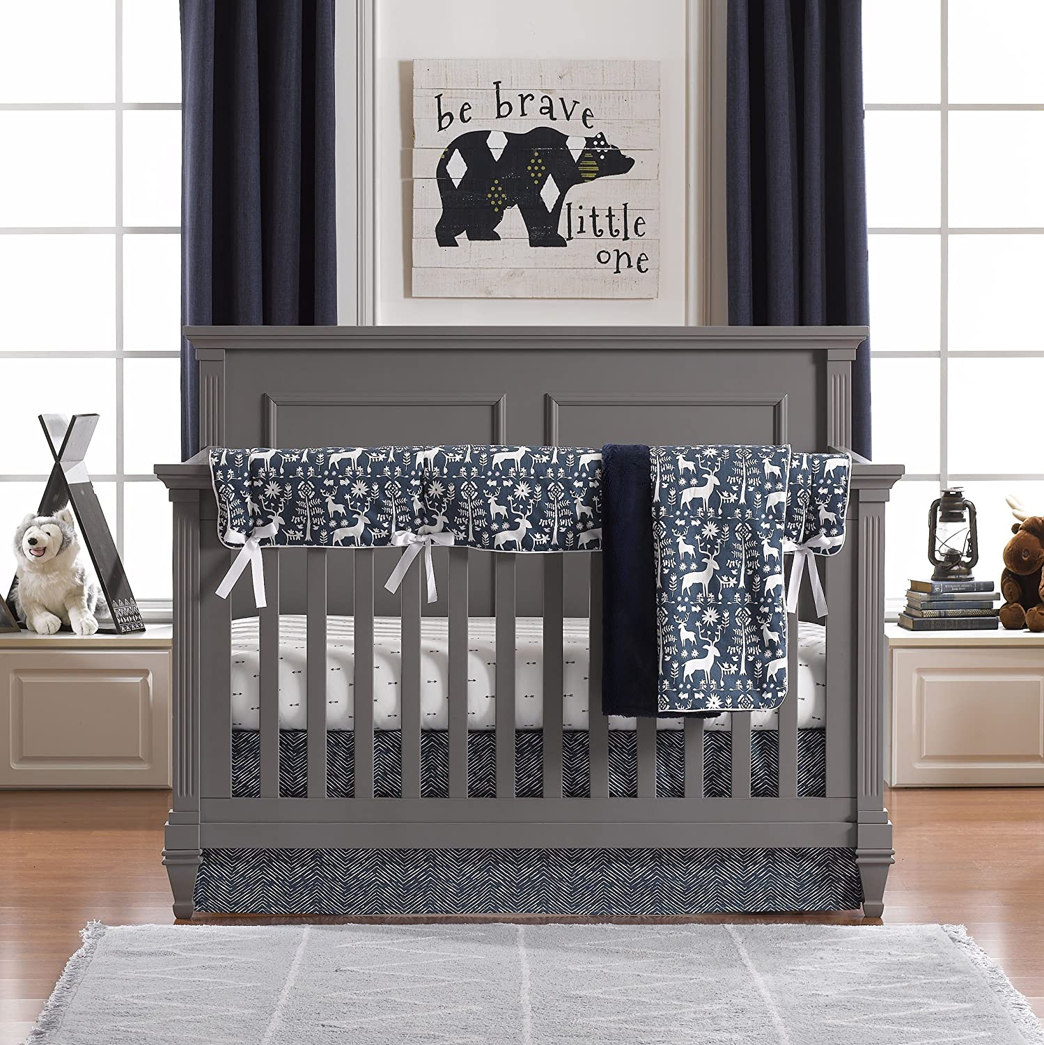 Set Liz and Roo Navy Woodland Forest Bumperless Crib Bedding 4 pc