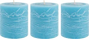 Unscented 3x4 Tall Pillar Candles – Set of 3 Hand Poured Wax Candles | Smokeless, Clean Burning Décor for Home, Weddings, Church, Events | Ocean Blue