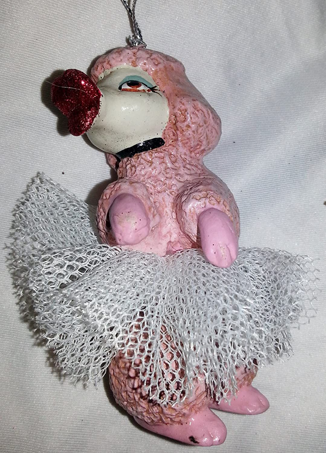 Katherine/'s Collection Blown Glass Hot Pink Poodle Dog Christmas Ornament Pink