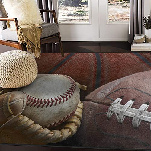 ALAZA Vintage Baseball in Glove Football and Basketball Area Rug Rugs for Living Room Bedroom 7 x 5
